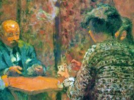 The Game of Bridge – The Salon at the Clos Cêzanne (1923) di Édouard Vuillard (1868–1940)