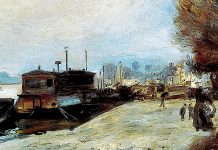 Laundry Boat By The Banks Of The Seine, Near Paris. Pierre-Auguste Renoir