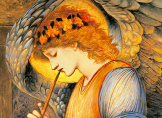 An Angel Playing a Flageolet, 1878 di Edward Burne-Jones (1833–1898)