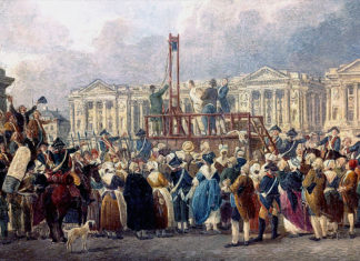 Execution of Louis XVI on the Place de Republique 1793, painting from Pierre de Machy's studio.
