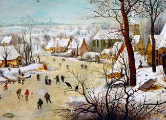 Winter Landscape with Skaters and a Bird Trap. Pieter Bruegel the Elder