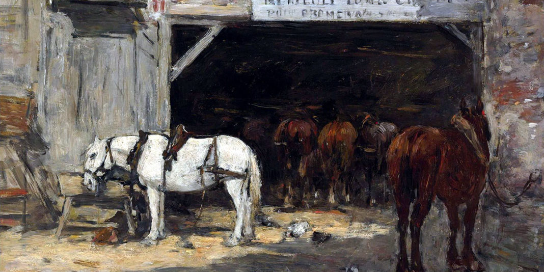 Horses for Hire in a Yard. Eugene Boudin